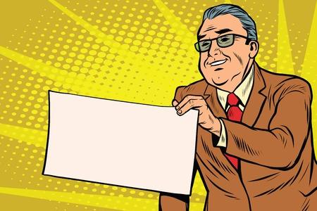bureaucrat: Boss businessman with a blank sheet of paper