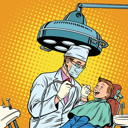 Dentist treats teeth boy Illustration