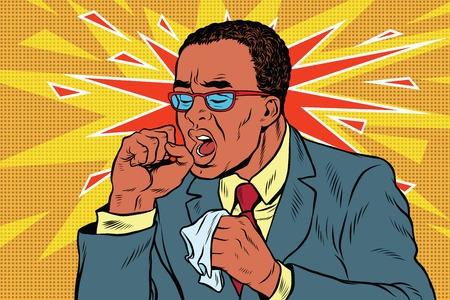 sinusitis: Sick man coughing
