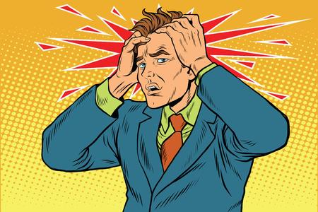 頭痛の男性の激しい痛み