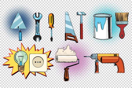 home tools and electrics, pop art set. retro vector illustration