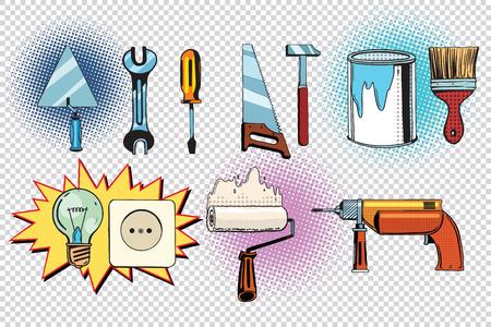 home tools and electrics, pop art set. retro vector illustration