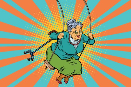 Old woman swinging on a baby swing. Pop art retro vector illustration. Granny with a crutch