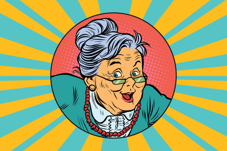 joyful intelligent grandmother. Pop art retro vector illustration