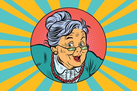 Vrolijke intelligente grootmoeder. Pop-art retro vector illustratie