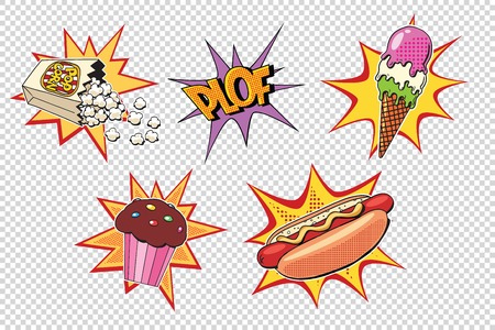Set fast food and sweets, pop art style Illustration