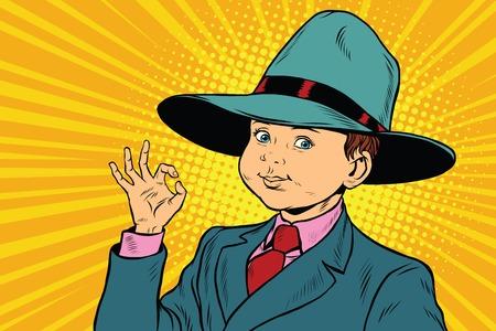 Boy OK gesture, big hat mafia