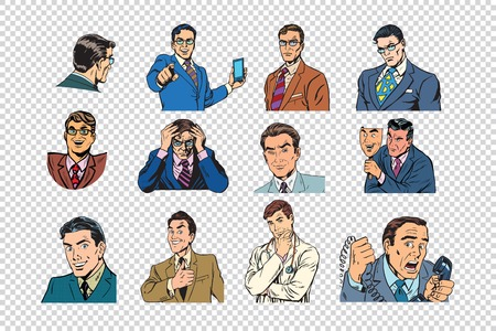 Retro businessmen pop art collection Иллюстрация