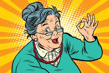 Oma goed gebaar, de ouderen Stock Illustratie