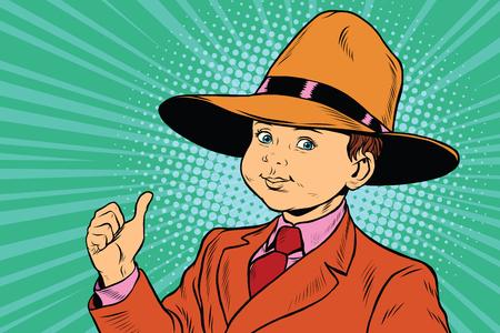 thumb up boy in a big hat Illustration