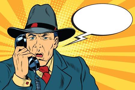 Verrast retro zakenman praten over de telefoon
