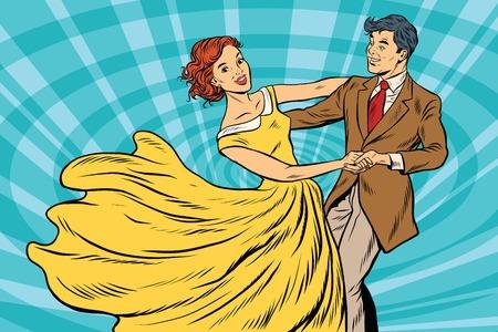 Prom, paar meisje en jongen dans Vector Illustratie
