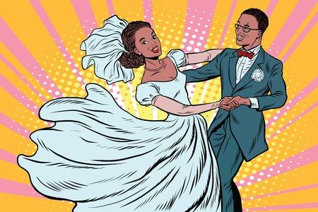 wedding bride: Wedding dance bride and groom Illustration
