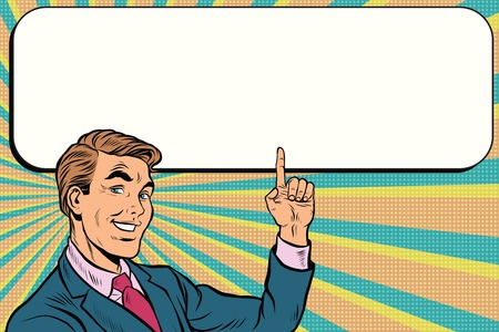 Businessman points up to copy space background, pop art retro vector. Beautiful promo man Vectores