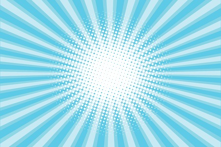 sun beam: blue colored back pop art style background. backdrop line space. sun beam template. Vector illustration