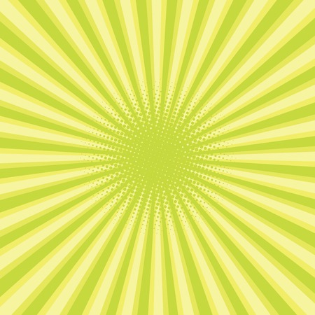 sun beam: green colored back pop art style background. backdrop line space. sun beam template. Vector illustration