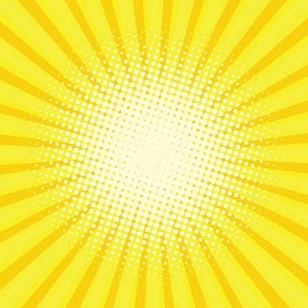 the energy center: Yellow colored back pop art style background. backdrop line space. sun beam template. Vector illustration