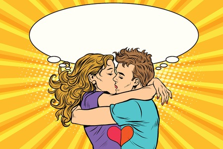 Love couple kiss, boy and girl in Valentines day, pop art retro vector. A romantic date. Young people
