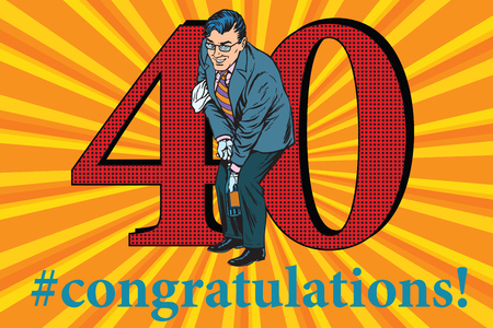 Congratulations to the 40 anniversary event celebration. Happy man opens a bottle of champagne. Vintage pop art retro vector illustration Illustration
