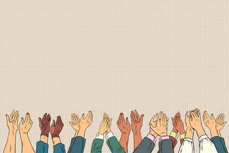 Applausi mani fino in conferenza d'affari. Vintage pop art illustrazione vettoriale retrò