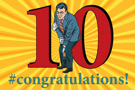 sommelier: Congratulations to the 10 anniversary event celebration. Happy man opens a bottle of champagne. Vintage pop art retro vector illustration