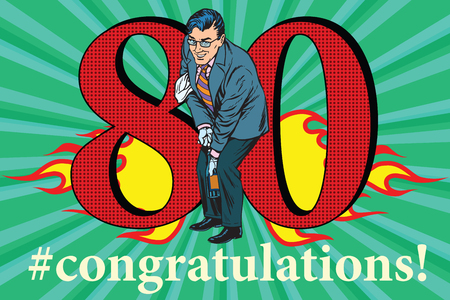 Congratulations to the 80 anniversary event celebration. Happy man opens a bottle of champagne. Vintage pop art retro vector illustration