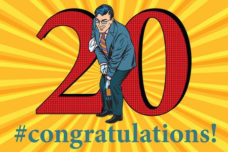 uncork: Congratulations to the 20 anniversary event celebration. Happy man opens a bottle of champagne. Vintage pop art retro vector illustration
