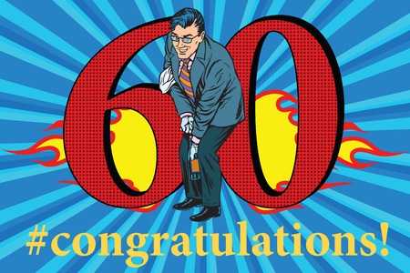 Congratulations to the 60 anniversary event celebration. Happy man opens a bottle of champagne. Vintage pop art retro vector illustration
