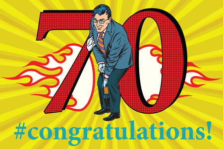 Congratulations to the 70 anniversary event celebration. Happy man opens a bottle of champagne. Vintage pop art retro vector illustration