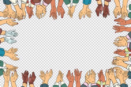 Clap Hände, die ein Business-Konzept, Applaus Rahmen. Vintage-Pop-Art Retro-Vektor-Illustration. Isolieren Geschäftsmann und Geschäfts Vektorgrafik