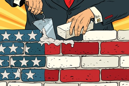 politician to build a wall on the USA border. United States flag. Illegal migration. Vintage pop art retro vector illustration. Brickwork