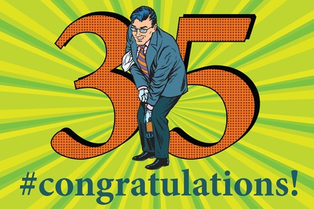 Congratulations to the 35 anniversary event celebration. Happy man opens a bottle of champagne. Vintage pop art retro vector illustration