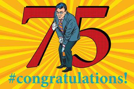 Congratulations to the 75 anniversary event celebration. Happy man opens a bottle of champagne. Vintage pop art retro vector illustration