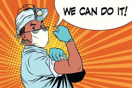 we can do it doctor African American Illustration