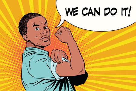 we can do it Protester black man African American  イラスト・ベクター素材