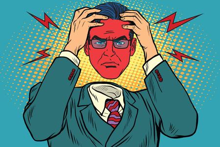 怒りや男性の頭痛  イラスト・ベクター素材