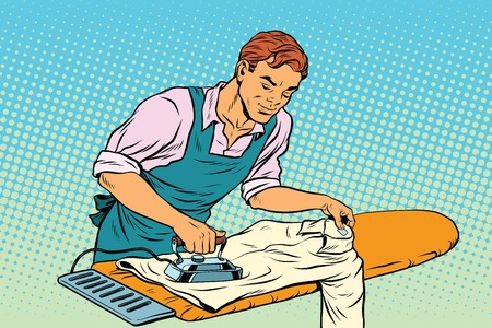 ironed: Vintage employee ironed clothes