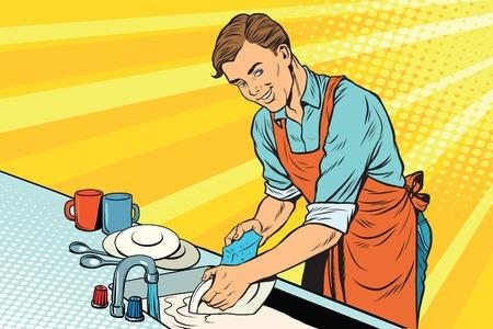 ヴィンテージ ワーカーは皿を洗い