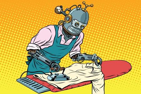 ビンテージ ロボット従業員服にアイロンをかけた
