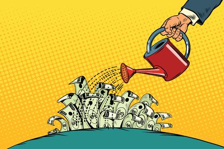ビジネスマンはお金に水まき缶からドルを骨抜き。ビンテージ ポップ アート レトロなベクトル。起動とビジネス ・ インキュベータ