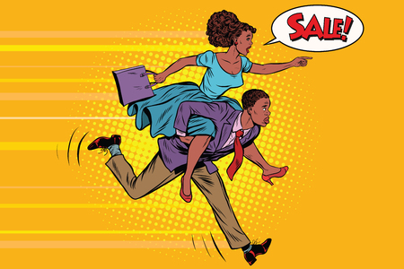 wife riding husband runs on sale. Vintage pop art retro vector. High demand. African American people