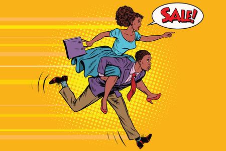 Vrouw rijden man loopt te koop. Vintage pop art retro vector. Hoge vraag. Afro-Amerikaanse mensen