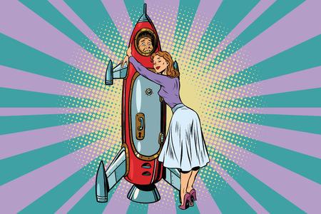 Vrouw knuffelt haar man astronaut in de raket Stock Illustratie