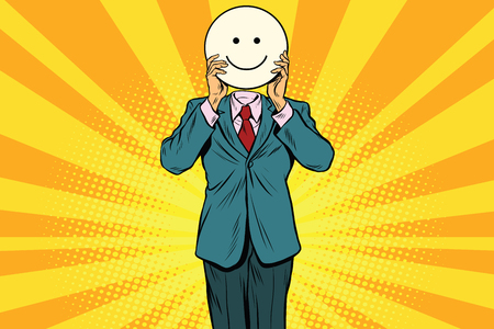 Joy smile. Man smiley Emoji face. Vintage pop art retro comic book vector illustration