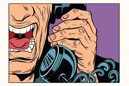 Verärgerter Mann am Telefon zu sprechen. Vintage Pop-Art Retro Comic-Vektor-Illustration