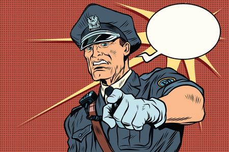 violación: Policía de la vendimia COP detenciones. Arte pop retro ilustración vectorial de dibujos animados