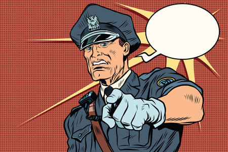 Vintage police officer COP arrests. pop art retro comic book vector illustration