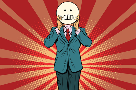 hysteria: panic anger Man smiley Emoji face. Vintage pop art retro comic book vector illustration