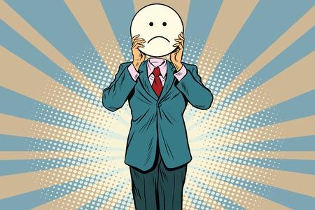 sadness Man smiley Emoji face. Vintage pop art retro comic book vector illustration