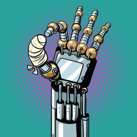 Robot OK okay gesture hand broken bandaged finger Çizim
